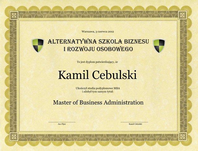 Dyplom MBA ASBIRO